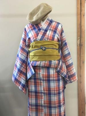 インド綿の浴衣  マドラスチェック ブルーオレンジ