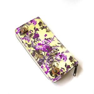 北欧デザイン ストラップホルダー付牛革ラウンド財布 | green flower