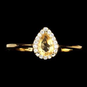 シトリン リング 指輪 16号 ブラジル産 綺麗なイエローカラー!