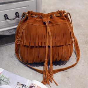 【バッグ・財布】無地フリンジ紐締めショルダーバッグ