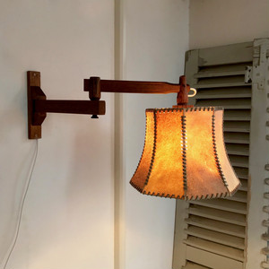 Leather Shade & Swing Arm Wall Lamp  60's オランダ