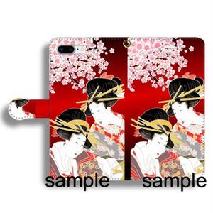 手描友禅 手帳型ケース 浮世絵 美人画 桜 赤