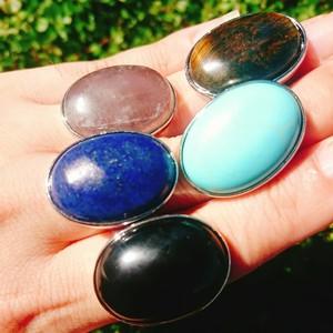 指輪 天然石とシルバーカラーのリング パワーストーンリング