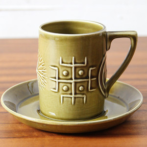 1960年代 イギリス Portmeirion Totem Olive カップ&ソーサー ポートメリオン トーテム