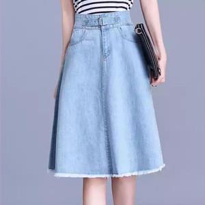 【ボトムス】合わせやすいハイウエスト大きいサイズ夏デニムスカート26772083