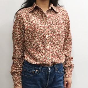 ユーズド 小花柄コーヂュロイシャツ コットン ピンク