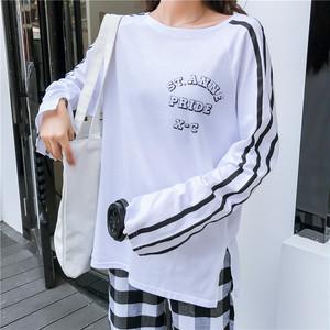 【トップス】アルファベットラウンドネックTシャツ