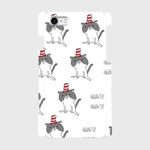 帽子をかぶったハナペちゃん(グレーはちわれ) 側表面印刷スマホケース iPhone7 ツヤ有り(コート)