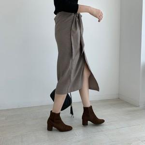 【予約】ribbon wrap skirt / check (9月下旬配送)