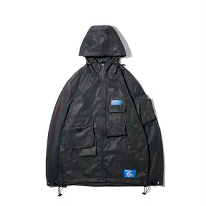 SALE セール【30%OFF】MEN'S REFLECTIVE MATERIAL HOODED BLOUSON / BLACK