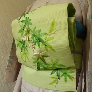正絹絽 グリーンの楓のなごや帯 作家物