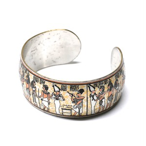 Reed & Barton Damascene 70's Vintage Pewter Egypt Mural Bangle