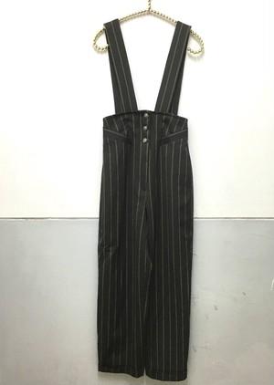 stripe high waist salopette pants