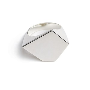 Variety pentagon polished silver ring
