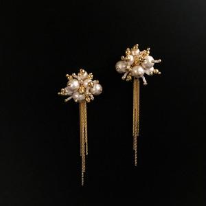 E-24 pierce/earring(gold×white)