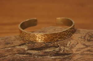 hammer finish brass bangle