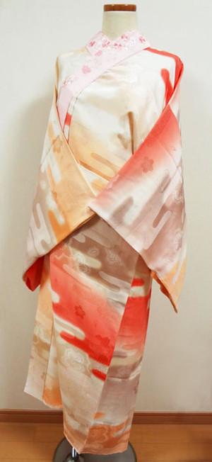 オレンジのぼかしに桜と波 刺繍半襟付き 長襦袢