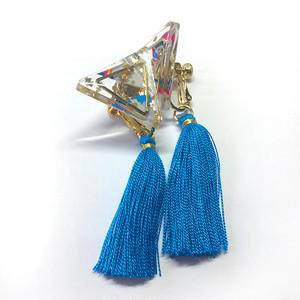 トライアングルイヤリング(BLUEフリンジ付き)