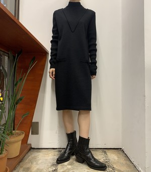 1980s NINA CHARLES for KASPER A.S.L. high neck wool mix knit one-piece 【XS】