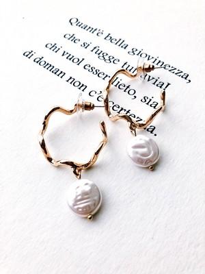 Pearl zigzag hoop pierce (パール ジグザグ フープ ピアス)