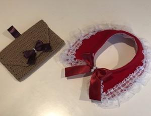 クリスマスケープ&ベージュ手編み小物入れセット