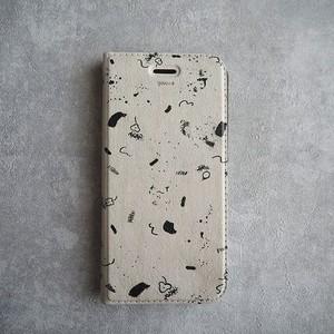 iPhone Plus・XR・XS MAX   ケース   ベルトなし手帳型 <concrete doodle> エクリュ