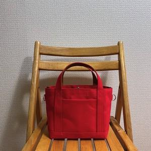 「シンプルトート」小サイズ「赤×キャメル」帆布トートバッグ 倉敷帆布 和泉木綿帆布