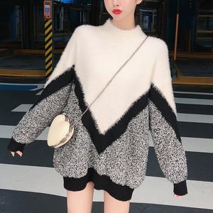 ニットソー ゆったり ニットセーター ロング 体型カバー チュニック かわいい