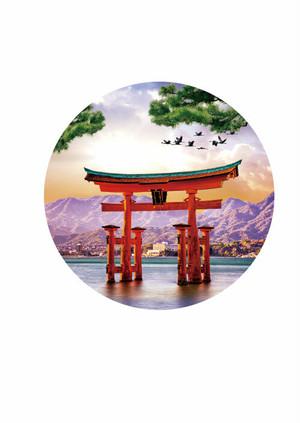 日本の美景3D缶バッジ 厳島神社