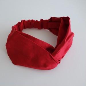 リネンのヘアバンド cross 赤
