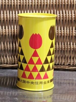 希少品? 大阪中央信用金庫 ブリキ 貯金箱 レトロポップなチューリップ柄