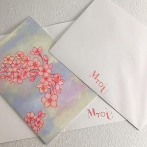 SAKURA 二つ折りグリーティングカード(封筒付き)