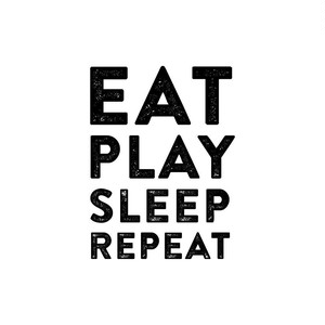 Eat play sleep repeat ウォールステッカー 子供部屋 モノトーン 北欧