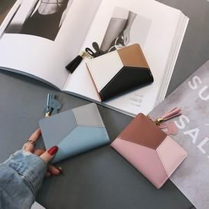 【バッグ】シンプル切り替え幾何模様手持ちホックPU財布