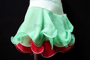 フィギュアスケート 練習用パンツ付きスカート ミントグリーン×レッド  sk0008