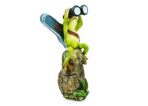 カエルオブジェ 冒険蛙 双眼鏡と背中にギター