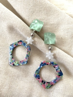 clear green × pastel color ❤︎/イヤリング