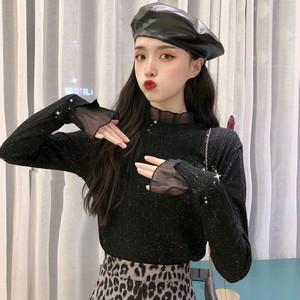 【トップス】韓流ファッションハイネックフリル着やせ見えトップス