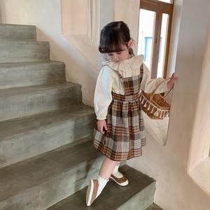 【先行予約】チェック柄 サスペンダー スカート 韓国子供服 春夏 2021SS