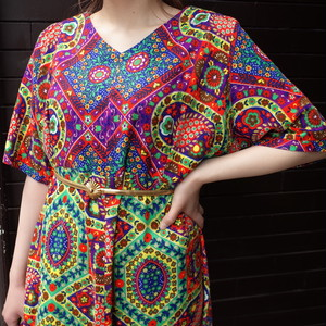 70's psychedelic patterned dress 70年代サイケデリック柄半袖ワンピース