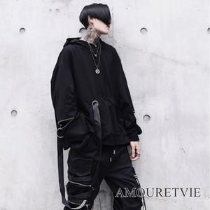 メンズ パーカー スタイリッシュ 黒 ブラック デザインカット ジッパー ストリート ゆったり 大きいサイズ オルチャン 韓国ファッション 1180