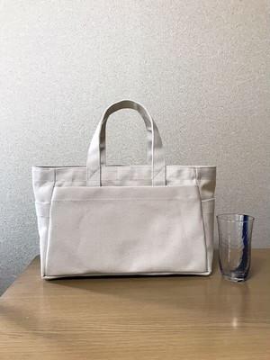 「ボックストート」横長サイズ 帆布トートバッグ 「生成り」倉敷帆布8号