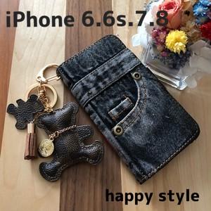 iPhone 6.6s.7.8共通手帳型iPhoneケース★ベアホルダー付き