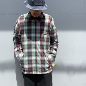 DEAD STOCK OLD STUSSY CHECK FULLZIP SHIRT JACKET L