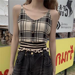 【トップス】ファッションカジュアルチェック柄ニットキャミソール27158131