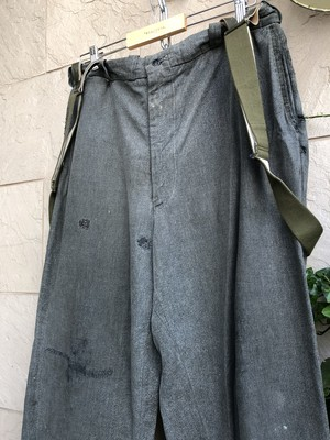 〜1960s American BIC MAC brand black chambray pants with suspender