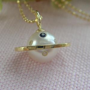 土星ペンダント/土星ネックレス/可愛い/惑星/宇宙/定番/シンプル/プレゼント/ギフト本真珠9mm/18k/チェーン付