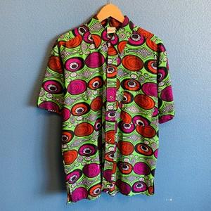 アフリカンテキスタイルシャツ(グリーンサイケデリック)