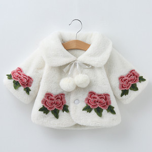 【ベビー服】スウィート清新フェイクファーシングルブレストプリントジャケット·アウター23659793