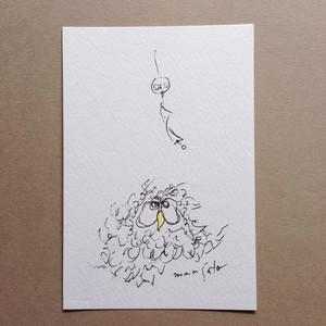 ポストカード【風鈴とフクロウ】モモMサトウpc007